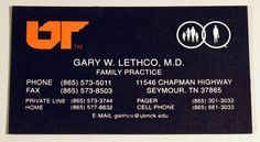 Engraved business card, white and orange ink on black paper. Designed and printed by Larry B. Newman Printing Company.