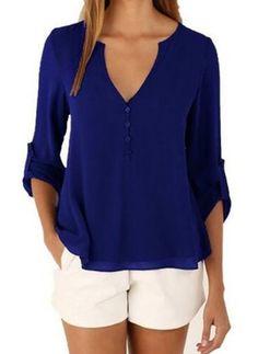 Lässige Kleidung Halbe Ärmel Solide Polyester V-Ausschnitt Hemden