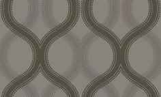 Solaris (99241) - Holden Decor Wallpapers - A pretty ogee oval curved shape pattern overlaying the beaded detail on a shadow repeat for a geometric all over design.  Shown with olive grey on a grey metallic background. Please request sample for true colour and texture.