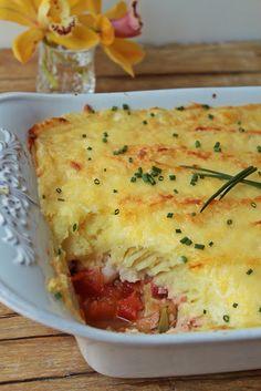 Hoje para jantar ...: Empadão de peixe em cama de legumes {com vídeo}