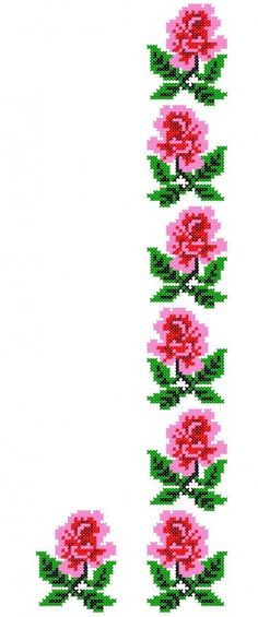 FL093 Simple Cross Stitch, Cross Stitch Borders, Cross Stitch Flowers, Cross Stitch Designs, Cross Stitching, Embroidery Patterns Free, Cross Stitch Patterns, Machine Embroidery, Embroidery Designs