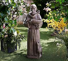 Plow U0026 Hearth St. Francis Of Assisi Garden Bird Feeder Statue