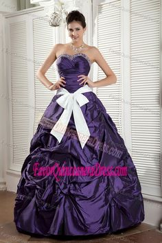 Sweetheart Floor-length Purple Taffeta Dress for Quince with Bowknot
