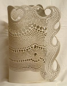 pierced stoneware column by Bob Emmett at Snail Pottery!!