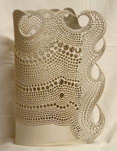 pierced stoneware column by Bob Emmett at Snail Pottery!!