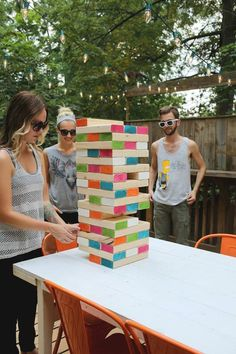 I love Jenga! 32 Of The Best DIY Backyard Games You Will Ever Play - Giant outdoor Jenga! Fun Games, Fun Activities, Games To Play, Outdoor Activities, Camping Ideas Games, Pool Party Activities, Camping Games For Adults, Backyard Games, Outdoor Games