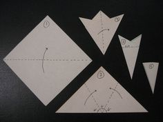 Step 1 - Fold a square sheet of paper in half, forming a triangle. Step 2 - Fold the points of the triangle across each other in equal thirds (this step is difficult because there are no reference. Art Therapy, Fun Crafts, Snowflakes, Triangle, Sea, Crystals, Paper, Awesome, Christmas