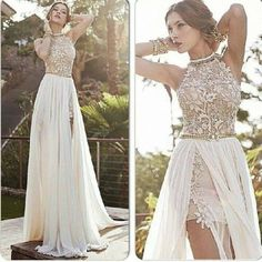 romantic high neck lace  beaded chiffon high low white  prom dress 2014  party dress ED1407 $198.00