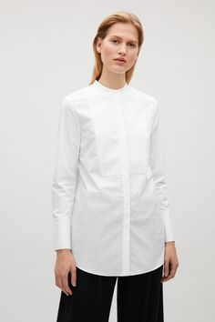 COS image 2 of Long collarless shirt in White
