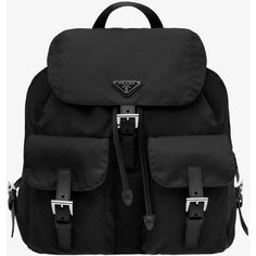 PRADA Backpack ($990) ❤ liked on Polyvore featuring bags, backpacks, bolsas, accessories, black, handbags, women, triangle bag, flap bag and harness backpack