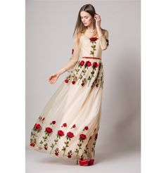 Langarm Maxi Kleid mit Rote Rosen
