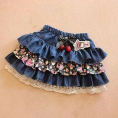 Retail children's denim skirt spring autumn girl's short skirt bust skir… – Style is art Fashion Kids, Fashion Outfits, Fashion Clothes, Womens Fashion, Little Girl Dresses, Girls Dresses, Baby Dresses, Dresses Dresses, Kids Outfits