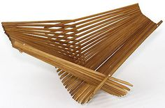 Chopstick-Art-Teak-or-Bamboo-Mid-Century-Danish-Style-Folding-Basket-Tray