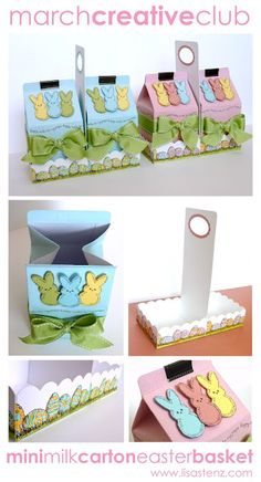 CTMH ideas by Lisa Stenz -  Mini Milk Carton Easter Basket made with the Art Philosophy Cricut Cartridge, Blush or Heavenly Blue Re-inker, Spray Pen, and adorable new My Peeps stamp set. You can fill the mini milk cartons with all kinds of goodies or treats. They are great for kids, teachers, neighbors, friends, etc.