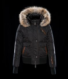 Nicole Benisti  DOWN-FILL BOMBER JACKET WITH COYOTE FUR