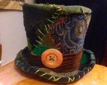 Chapeau de Chapelier fou, burning man, chapeau haut de forme vert, chapeau de patchwork, chapeau costume, woodland, fantaisie, chapeau magique, chapeau haut de forme