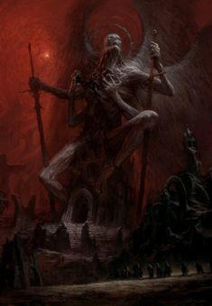 Fantasy Art Watch — Samael by Artem Demura Gothic Fantasy Art, Fantasy Concept Art, Fantasy Artwork, Arte Horror, Horror Art, Necronomicon Lovecraft, Arte Dark Souls, Satanic Art, Demon Art