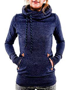 Damen Langarm Hoodies Kapuzenpullover Elegant Sweatshirt Oberteil Casual Pullover Für Herbst (M, Dunkelblau 2)
