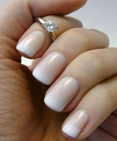 French Manicure for Engagement with Beautiful Ring