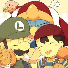 """#Supersmashbros #ness #luigi #kingdedede #kirby #friends #nintendo"""