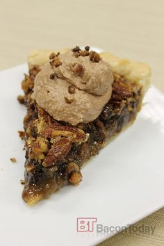 Chocolate Bacon Pecan Pie for 8/20 food holiday: Chocolate Pecan Pie Day!  Very rich, I skipped the chocolate whipped cream.  I'm not sure if the baking instructions worked for other pinners, but 35 to 40 minutes is not even close to being enough time for the pie to cook. I baked mine for an hour and ten before it was done in the middle. Also, The pie crust recipe is a waste of time. Same yourself trouble and buy a pie crust. This one is nothing special.