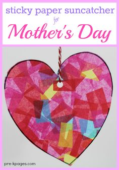Sticky Paper Suncatcher Heart Craft for Kids to Make. Easy Heart Suncatcher Kids Can Make for Mom for Mother's Day with sticky paper and tissue paper.