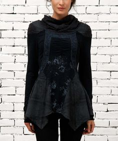 Another great find on #zulily! Black Mock Neck Sidetail Top by Angels Never Die #zulilyfinds