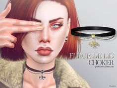 The Sims Models: Fleur De Lis Choker by Pralinesims • Sims 4 Downloads