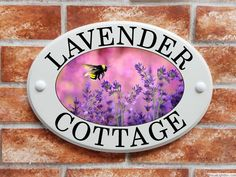 Ceramic Style house plaque with lavender and a bumble bee design created from original artwork. This house plate is made from solid cultured marble and is designed to give the loo. Bee Design, Sign Design, Floral Design, House Plaques, Lavender Cottage, House Names, Ceramic Houses, Lavender Flowers, Sign Printing