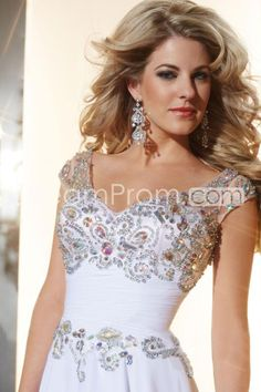 2014 V Neck Off The Shoulder Beaded And Ruffled Bodice Long Prom Dress With Flowing Chiffon Skirt