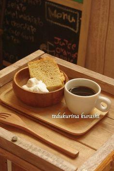 *おうちカフェぇ*リンゴのシフォンケーキ*手作りトレー