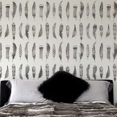 The Feathers Allover wall stencil from Cutting Edge Stencils. http://www.cuttingedgestencils.com/feathers-stencil-feather-stencils-wall-pattern.html