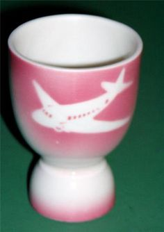 Greater Rockford Airport AIRBRUSHED AIRPLANE EGG CUP Syracuse China
