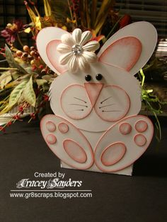 handmade Easter card  from gr8scraps ... punch art bunny shaped card ... luv how the sponged edges enhance the dimensional look ...