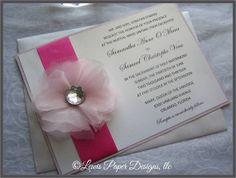 Pink Wedding Invitation with ribbon/ Pink by LewisPaperDesigns, $5.50