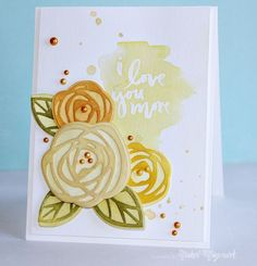 Love You More Card by @nicholmagouirk + VIDEO TUTORIAL. Card uses #EssentialsbyEllen Love You So stamps and Bold Blooms dies. #BoldBlooms #LoveYouSo #ellenhutsonllc