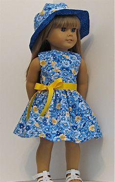 America Girl and 18 inch Doll Dress and Hat by Emmasdollshop, $24.95