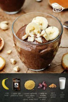pudding czekoladowy z kaszą jaglaną. 1 szklanka ugotowanej kaszy jaglanej (około 1/4 szklanki surowej kaszy) 5 daktyli noc wcześniej namoczonych w wodzie 2 płaskie łyżki kakao 1 banan garść orzechów włoskich 1/2 szklanki mleka Wykonanie: 1. Kaszę jaglaną płuczemy pod bieżącą wodą i wsypujemy do gotującej się wody. Gotujemy aż kasza będzie miękka, a woda wchłonie się/odparuje. 2. Kiedy kasza ostygnie, dodajemy do niej wszystkie pozostałe składniki i blendujemy na gładką masę. Healthy Sweets, Healthy Snacks, Diy Food, Food Hacks, Food Inspiration, Sweet Recipes, Food To Make, Food And Drink, Cooking Recipes