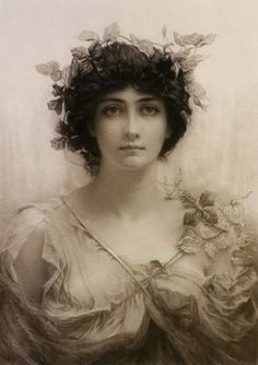 Clématis by Sir Hubert von Herkomer (1849-1914).