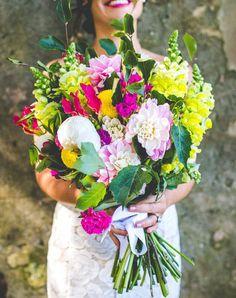 Vibrant bouquet by Gypsy Flora | Jess & Nick's Colourful Bush Bank Wedding | Photography by The Evoke Company #dahlias #foxglove #billybuttons
