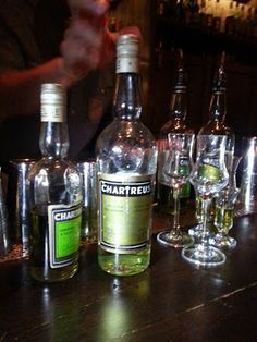 1970s Chartreuse Liqueur on the deck at Pouring Ribbons bar.  From: The Coopered Tot: A Day With A Master Dusty Hunter ... driven by a pretty green liqueur and the Question of Bottle Maturation