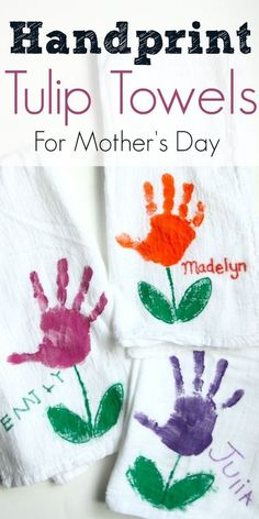 Every mother loves a handmade gift with a child's handprints! This Handprint Tulip Towel for Mother's Day makes the perfect gift for moms and grandmas. #motherdaygifts