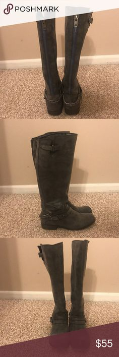 Tall gray boots Gray boots, good for fall/winter. Gently worn Shoes Winter & Rain Boots