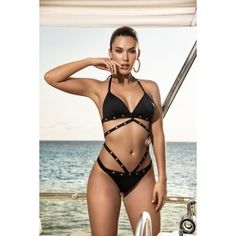 You will certainly standout on the resort scene in this sophisticated two piece swimsuit fetauring a triangle top strappy design and decorative metal eyelets. Matching bottom with medium coverage. 2 Piece Swimsuits, One Piece Swimwear, Bleach Color, Drip Dry, Triangle Top, Tan Lines, Black Bikini, Bikini Set, Amazing Women