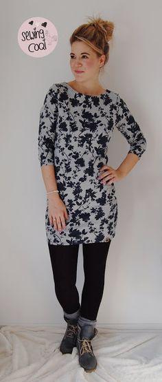 Schnittmuster Kleid Fine von Evli's Needle aus dem Wasserfarben Sommersweat Navy - Nähen für Erwachsene - Damen - Schnitt - EBook - casual - Outfit