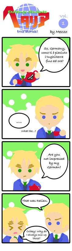 Exchange Students Hetalia 1 by Mezzochan.deviantart.com on @deviantART - Hetalia lends itself well to international school or exchange student situations once you're on a school theme. Here, imagine that Ludwig's an exchange student and Arthur is trying (and failing!) to make him feel welcome.