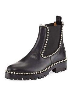 ALEXANDER WANG Spencer Studded Chelsea Boot, Black. #alexanderwang #shoes #boots