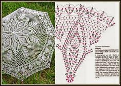 Crochet white umbrella ♥LCU-MRS♥ with diagram. Filet Crochet, Col Crochet, Beau Crochet, Crochet Motifs, Crochet Diagram, Crochet Home, Thread Crochet, Crochet Doilies, Crochet Stitches