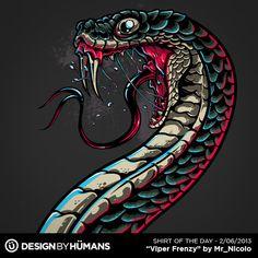 Viper Frenzy T Shirt by Design-By-Humans on DeviantArt Snake Drawing, Snake Art, Escorpion Tattoo, Animal Drawings, Art Drawings, Cool Posters, Dark Art, Vector Art, Cool Art