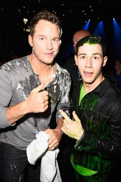 Pin for Later: See Stars Get Slimed at the Kids' Choice Awards!  Nick clearly had more to clean up. The show will just have to get Chris better next year!